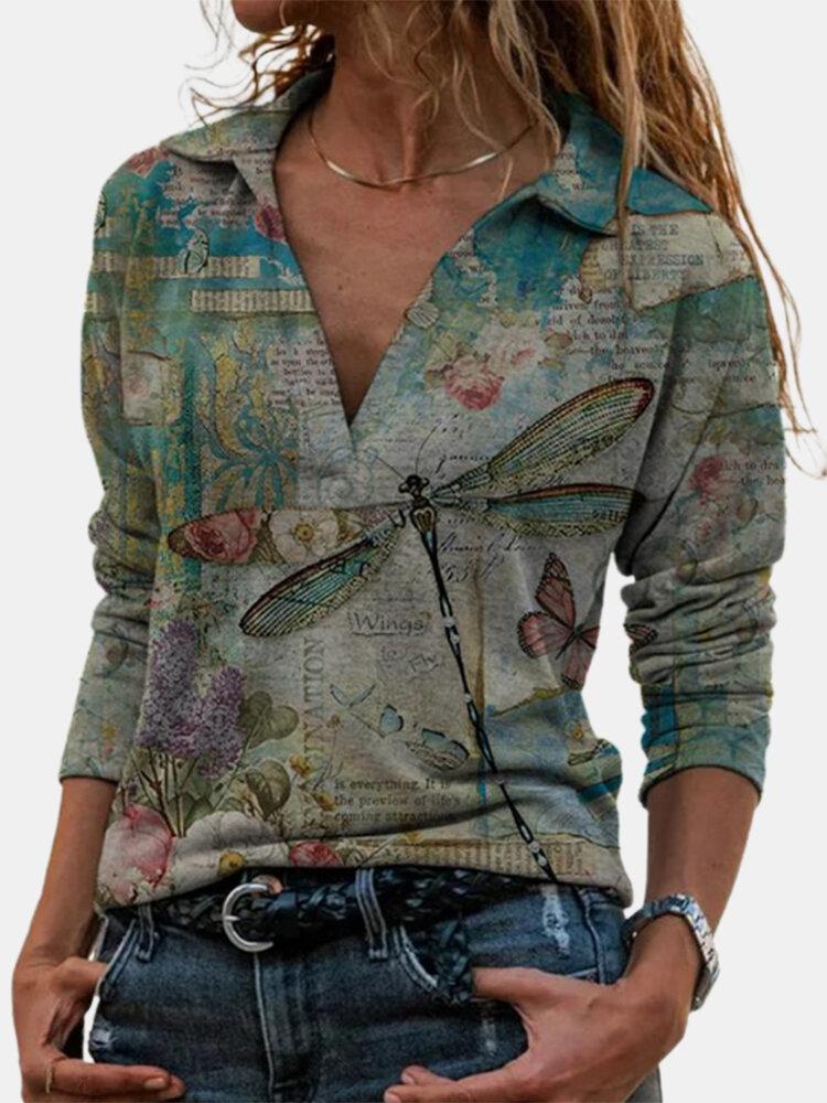 Vintage Dragonfly Floral Printed Long Sleeve V-neck T-Shirt For Women