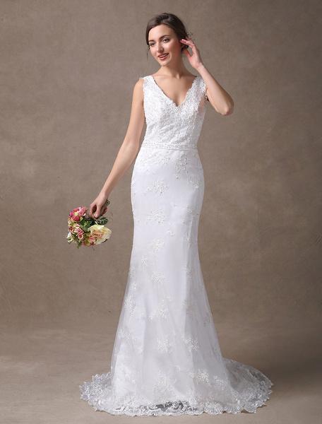 Milanoo White Wedding Dresses Mermaid V Neck Lace Applique Beaded Bridal Dress With Train