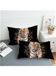 A Tiger Coming Through The Smoke Reactive Printing 2-Piece Polyester Pillowcase