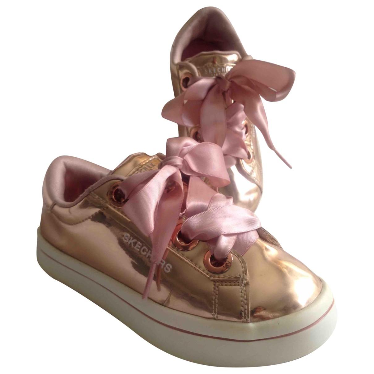 Skechers - Baskets   pour enfant en cuir verni - dore