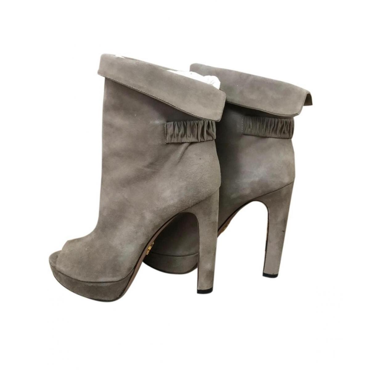 Prada - Boots   pour femme en suede - gris