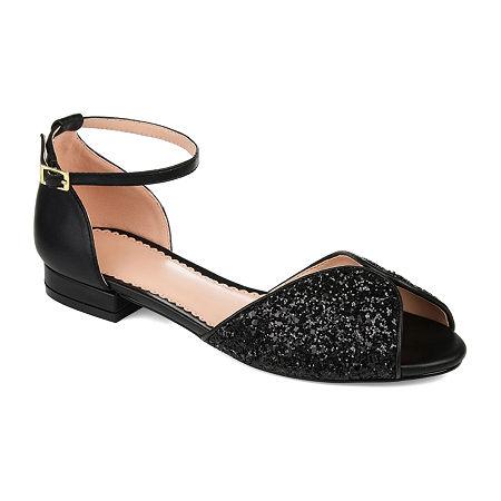 Journee Collection Womens Verona Peep Toe Block Heel Pumps, 6 Medium, Black