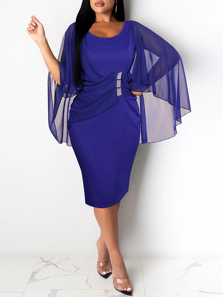 Milanoo Vestidos de fiesta Azul Cuello joya Diamantes de imitacion Sin mangas Vestido semiformal dividido en capas Vestido tubo