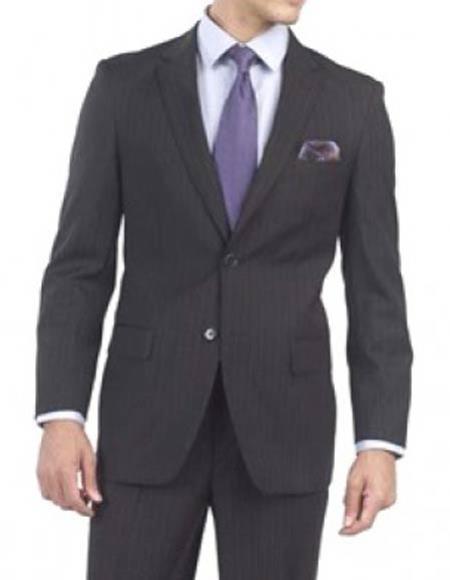 Mens Striped Pattern Navy Italian 1 Wool Two Button Notch Lapel Suit