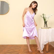 Contrast Lace Scallop Trimed Satin Cami Night Dress