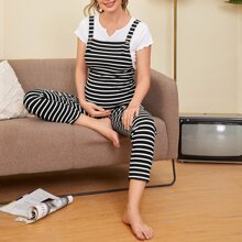 Maternity Buttoned Strap Striped Pinafore Jumpsuit