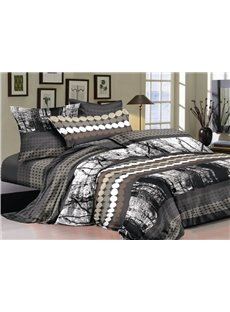 Chic Style Circles and Black Forest 4-Piece Cotton Bedding Sets/Duvet Cover