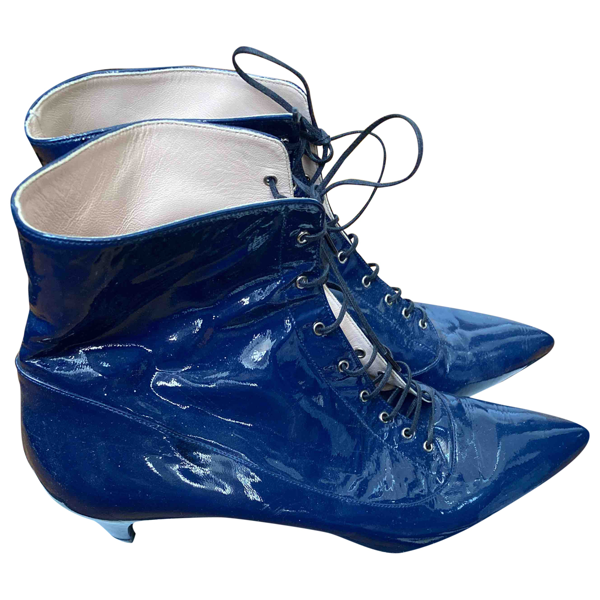 Miu Miu N Blue Patent leather Ankle boots for Women 40 IT
