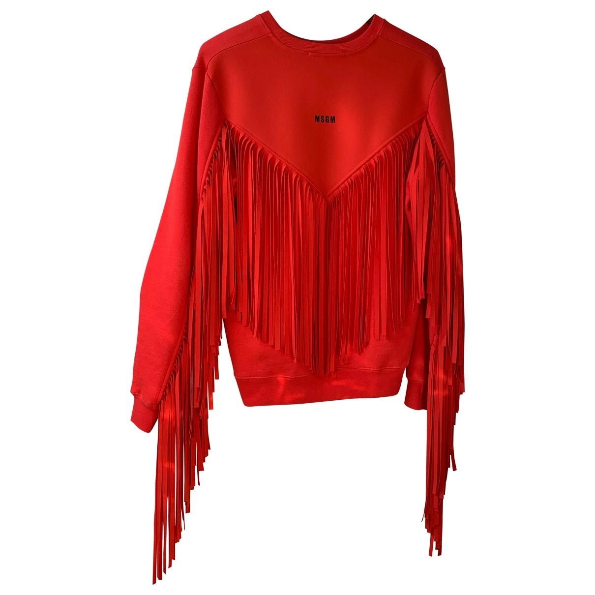Msgm - Pull   pour femme en coton - rouge