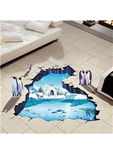 Penguins and Iceberg Pattern Waterproof 3D Floor Stickers PVC Wall Stickers