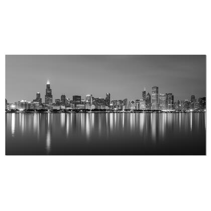 PT10098-40-20 Chicago Skyline At Night Black And White - Cityscape Canvas Print -