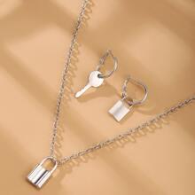 3pcs Lock Decor Jewelry Set