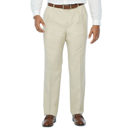 Stafford Super Stretch Classic Fit Pleated Suit Pants, 42 32, Beige