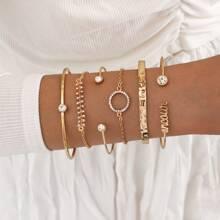6pcs Rhinestone Decor Bracelet
