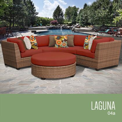 LAGUNA-04a-TERRACOTTA Laguna 4 Piece Outdoor Wicker Patio Furniture Set 04a with 2 Covers: Wheat and
