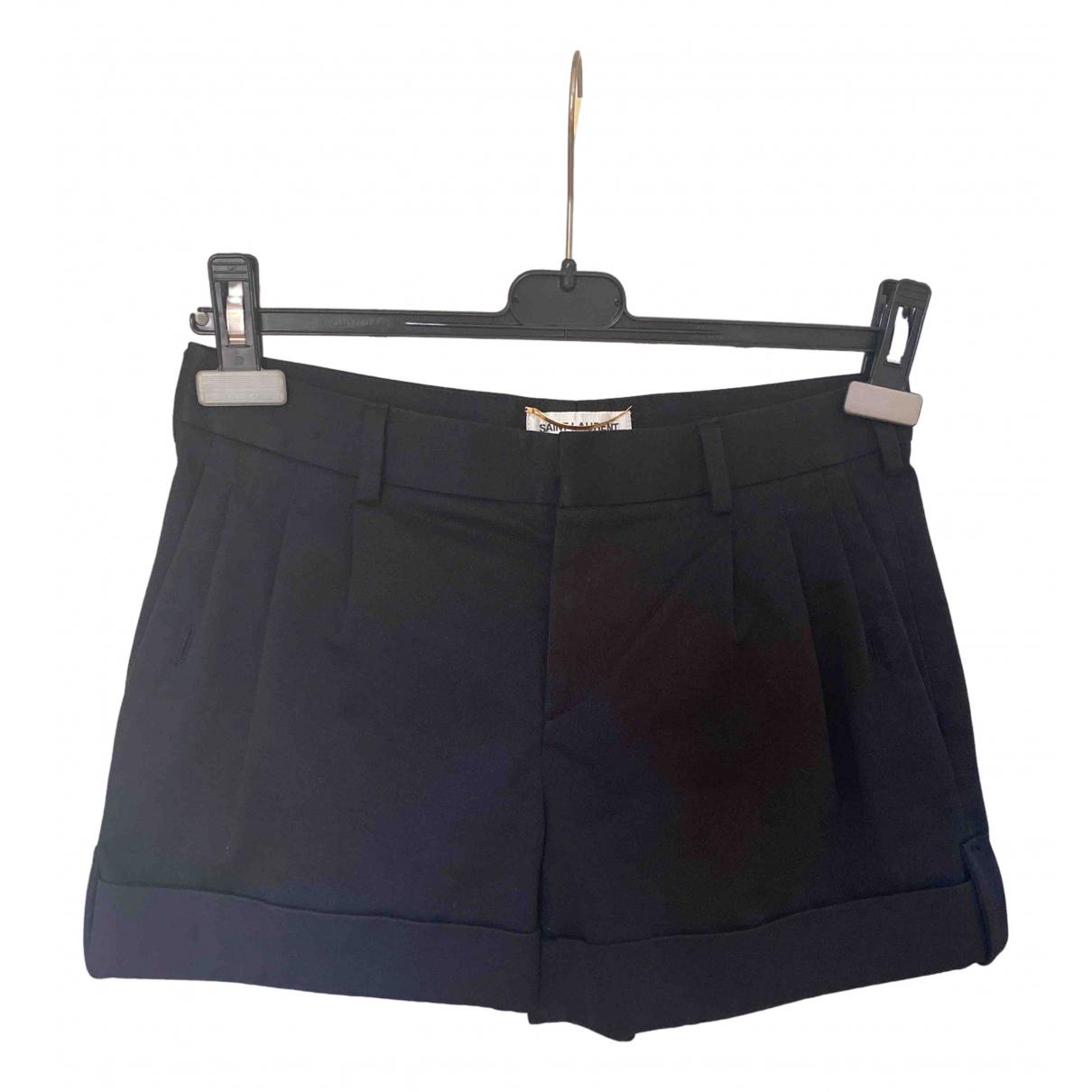 Saint Laurent \N Black Cotton Shorts for Women 34 FR