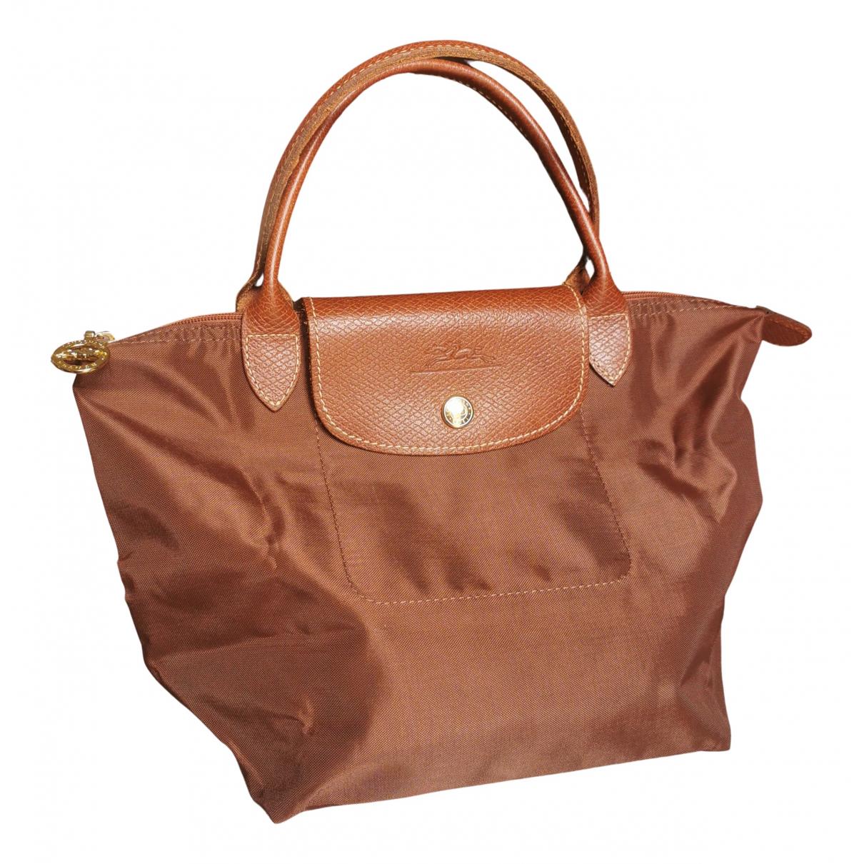Longchamp - Sac a main Pliage  pour femme en toile - camel
