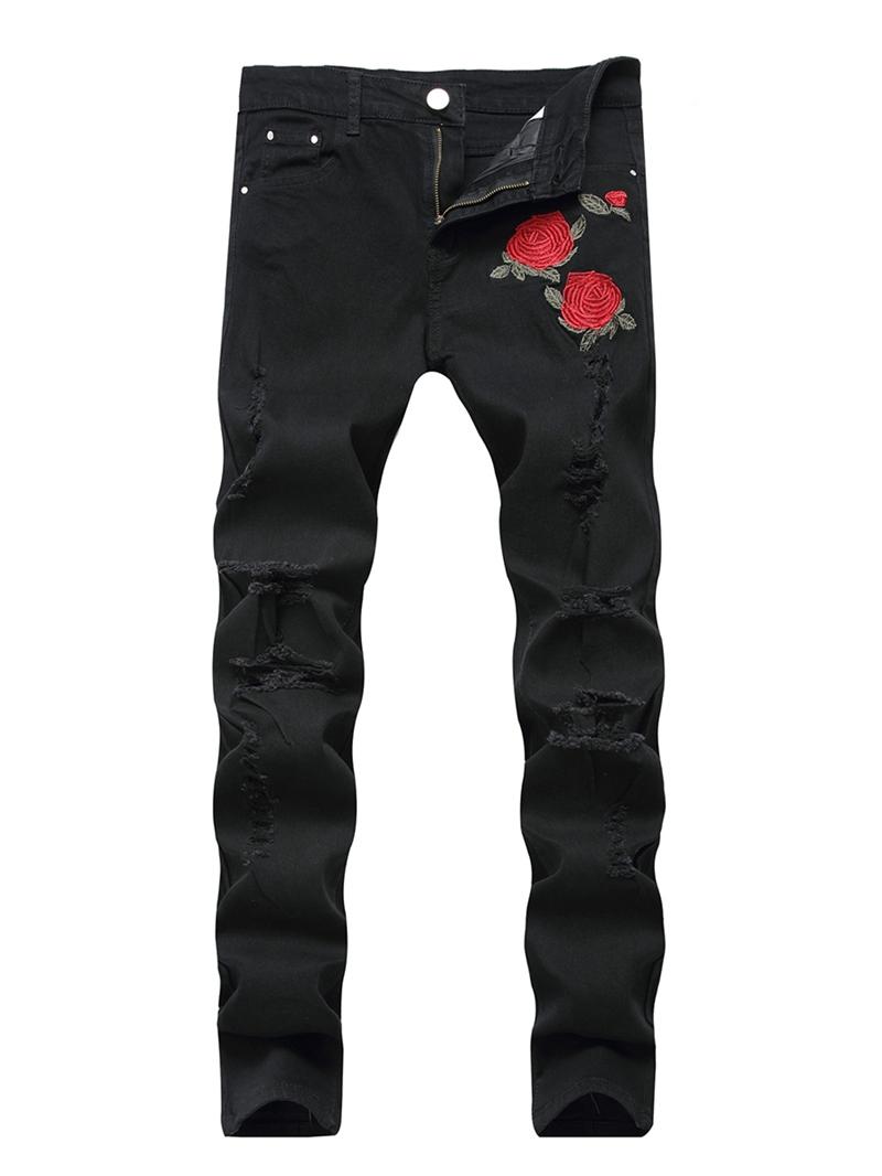 Ericdress Floral Print Zipper Mens Mid Waist Jeans