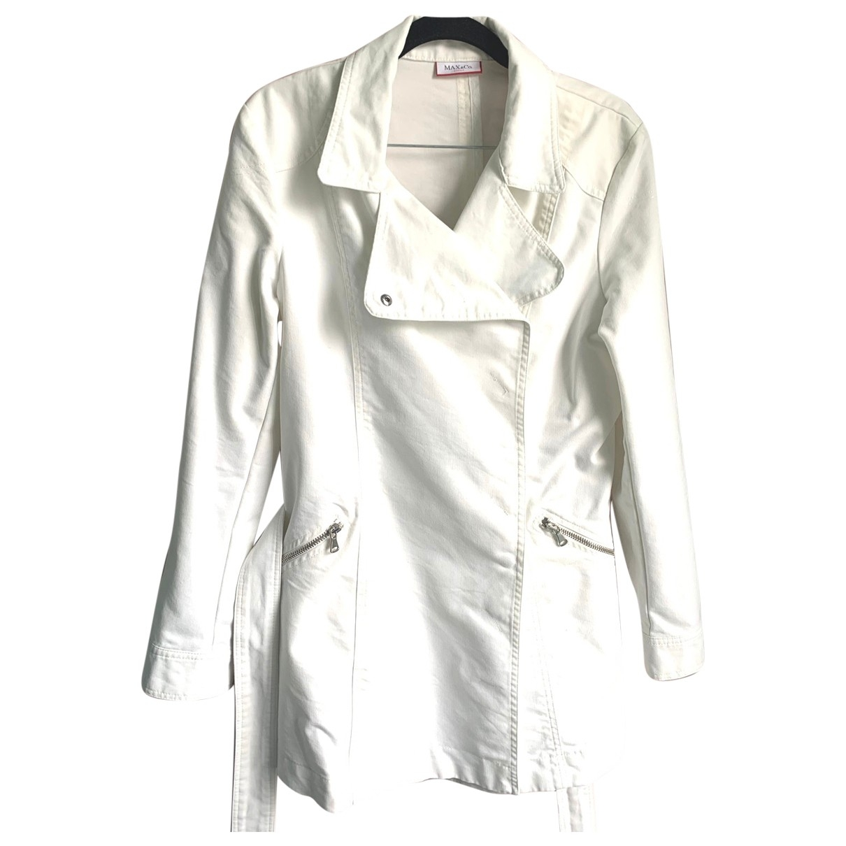Max & Co \N White Cotton Trench coat for Women 12 UK