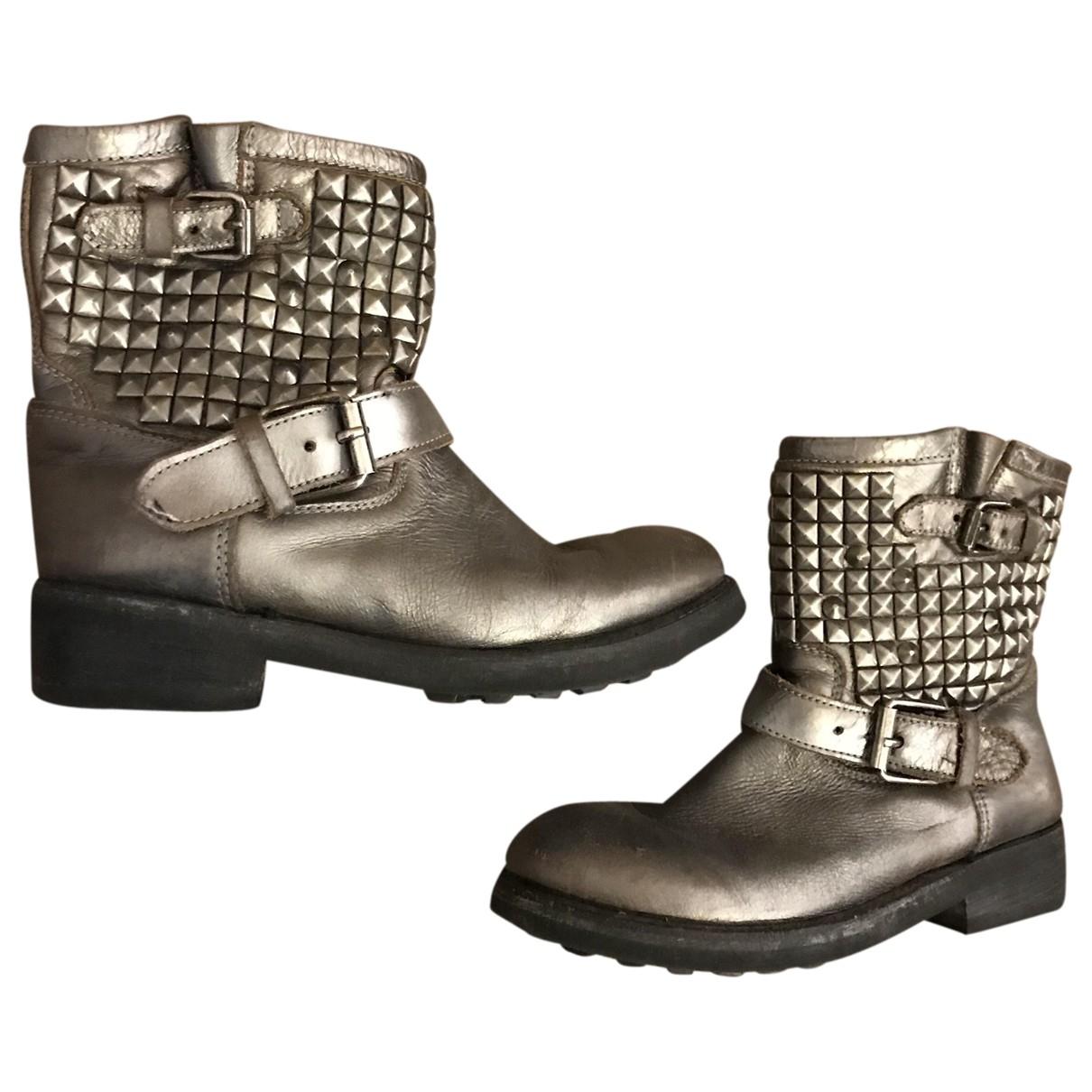 Ash - Bottes   pour femme en cuir - argente