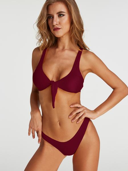 Yoins Tie-up Front Two-piece Bikinis Set in Burgundy