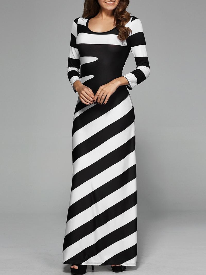 Ericdress Scoop Stripe Color Block Floor-Length Maxi Dress