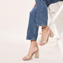 Chevron Print Ankle Strap Block Heel Sandals