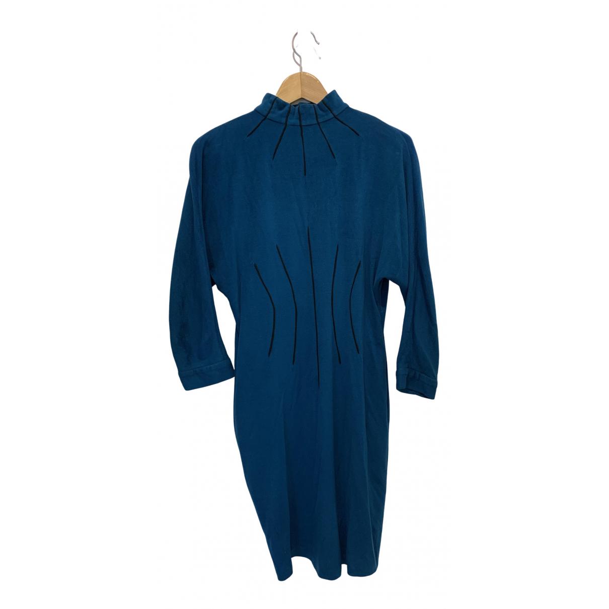 Thierry Mugler \N Kleid in  Blau Baumwolle