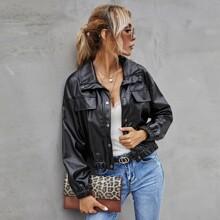 Drop Shoulder Button Front PU Leather Jacket