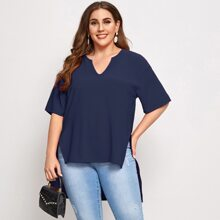 Plus Notch Neck Dip Hem Top