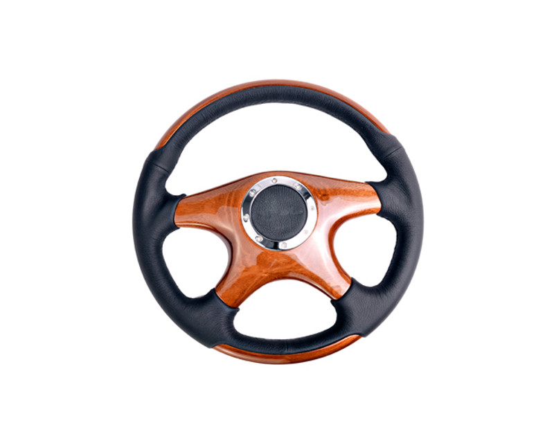 NRG ST-085 Leather with Wood Accents 4 Wood Spokes Classic Wood Grain Wheel Universal