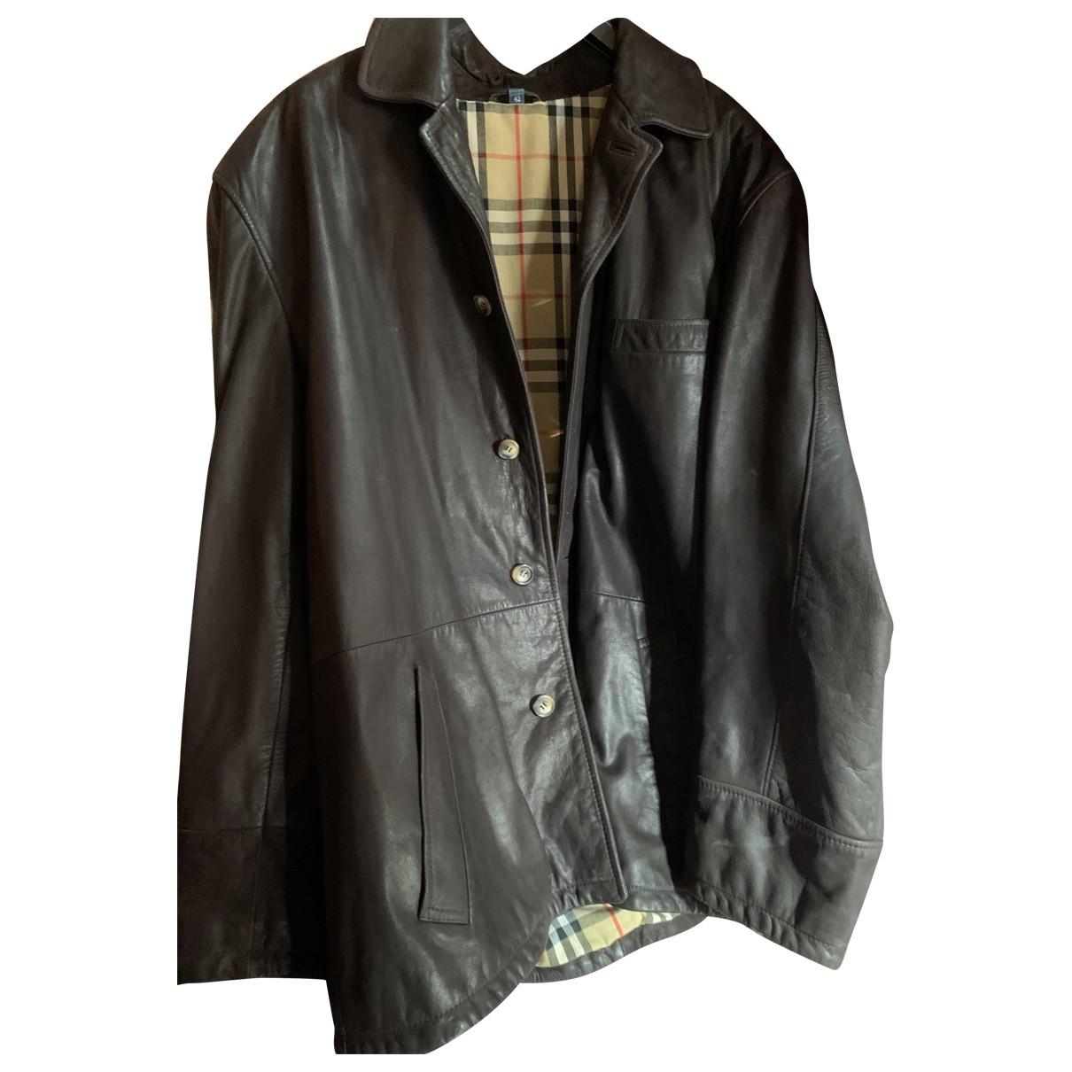 Burberry - Manteau   pour homme en cuir - marron