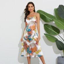 Satin Cami Kleid mit Wassermelone Muster