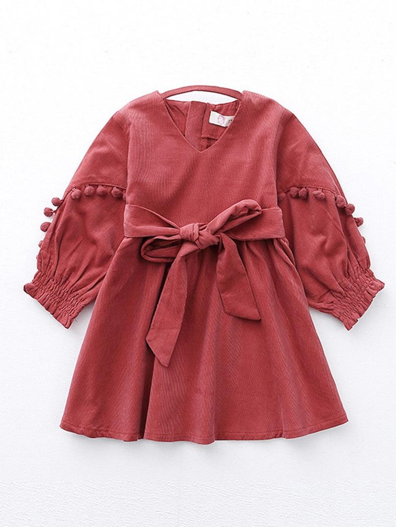 Ericdress V-neck Puff Sleeve A-line Girls' Dress