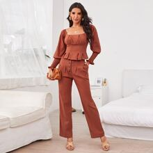 Ruched Bust Peplum Top & Button Fly Pants Set
