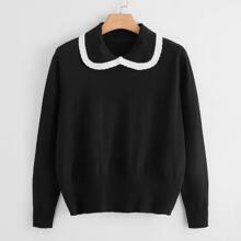 Pullover mit Peter Pan Kragen und Kontrast Saum