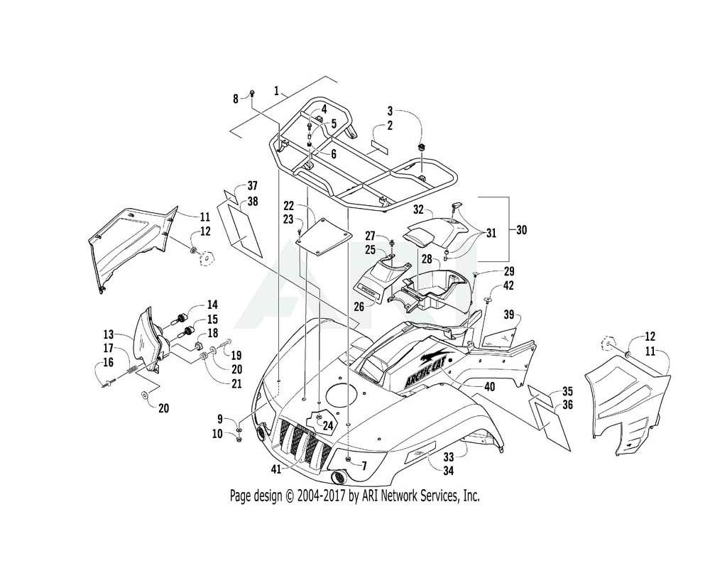 Arctic Cat OEM 4506-395 Fender Front Black Assembly | (Inc. 34 39)