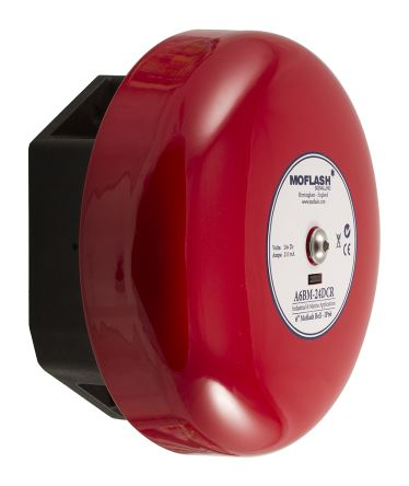 Moflash Red Solenoid Bell, 106dB at 1 Metre, 24 V dc