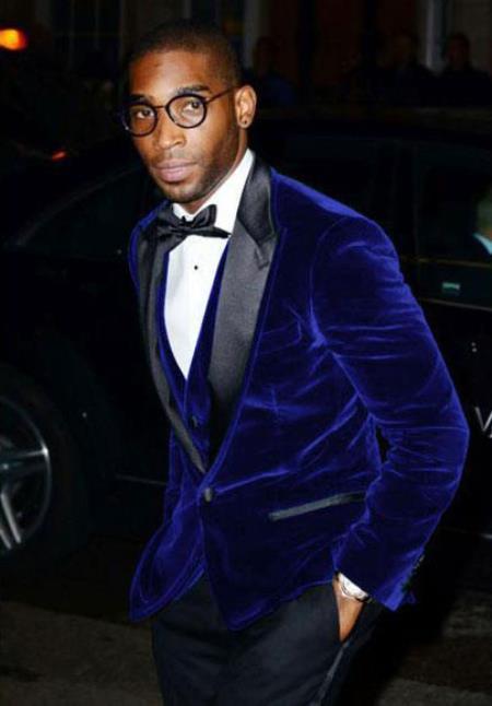 Mens Cheap Big/Tall Blazers Velvet Velour Blue Clear Blazer/Sport Coat