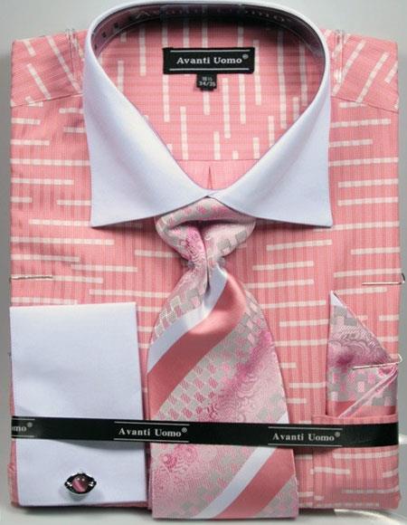 Men's 2 Tone French Cuff Dress Shirt White Collar Big & Tall Sizes