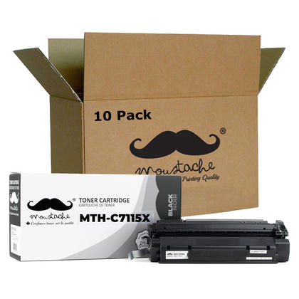 Compatible HP 15X C7115X Black Toner Cartridge High Yield - Moustache@ - 10/Pack