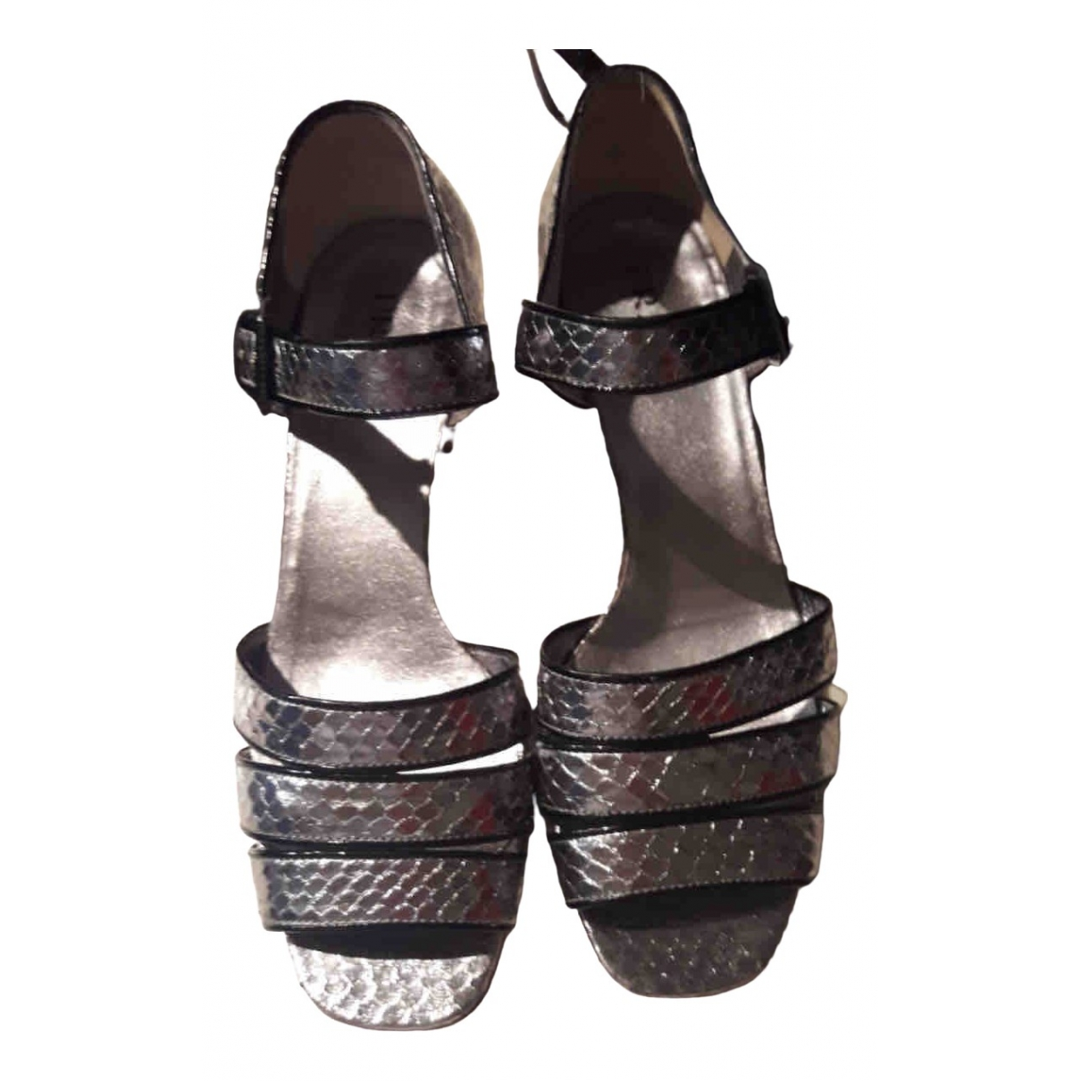 Prada \N Silver Python Sandals for Women 38 IT