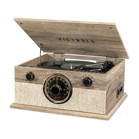 Victrola VTA-247B-FOT 6-in-1 Brookline Bluetooth Record Player with 3-Speed Turntable, CD, Cassette Player and AM/FM Radio, One Size , Beige