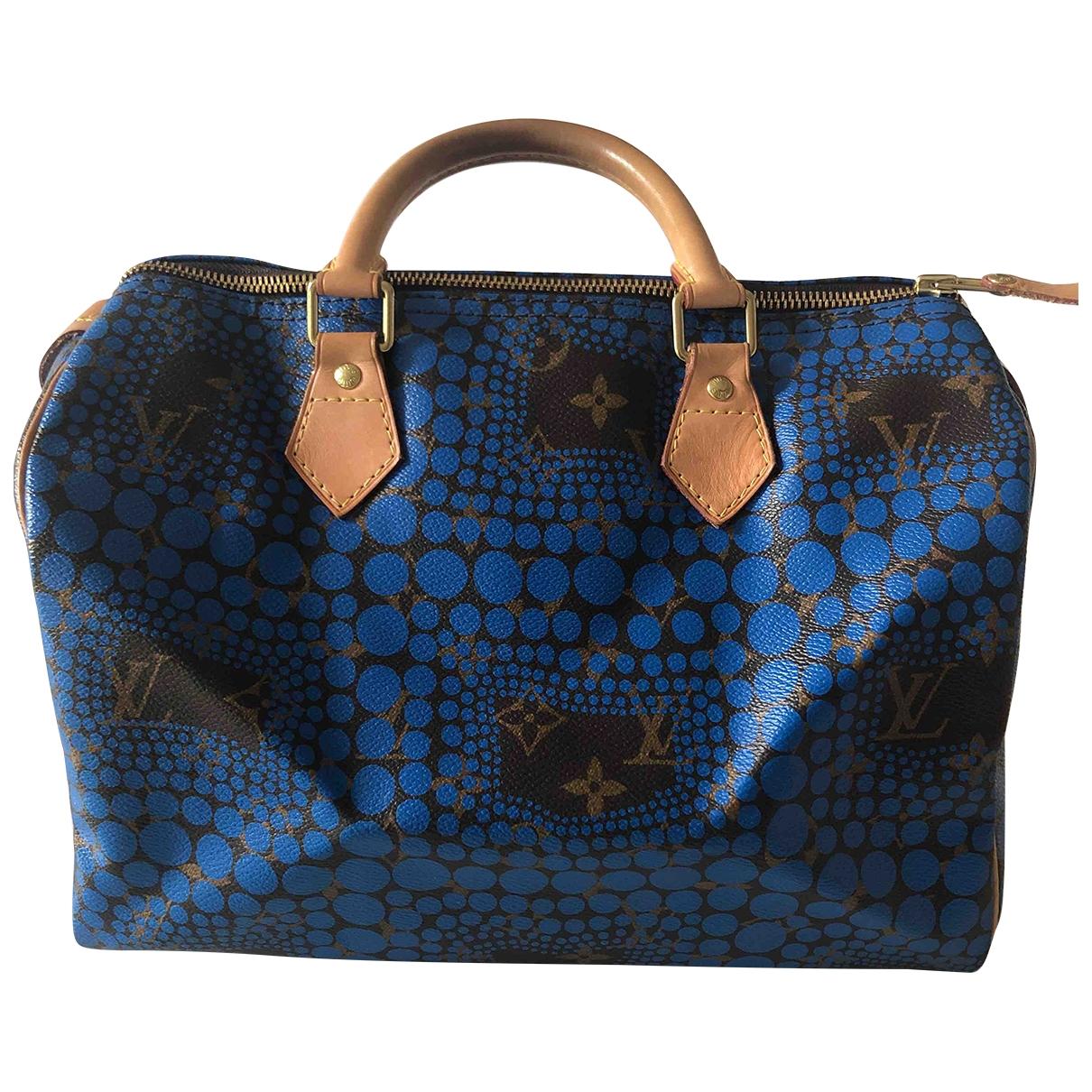 Louis Vuitton Speedy Handtasche in  Blau Leinen