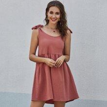 Einfarbiges Slip Kleid mit Band auf Schulter