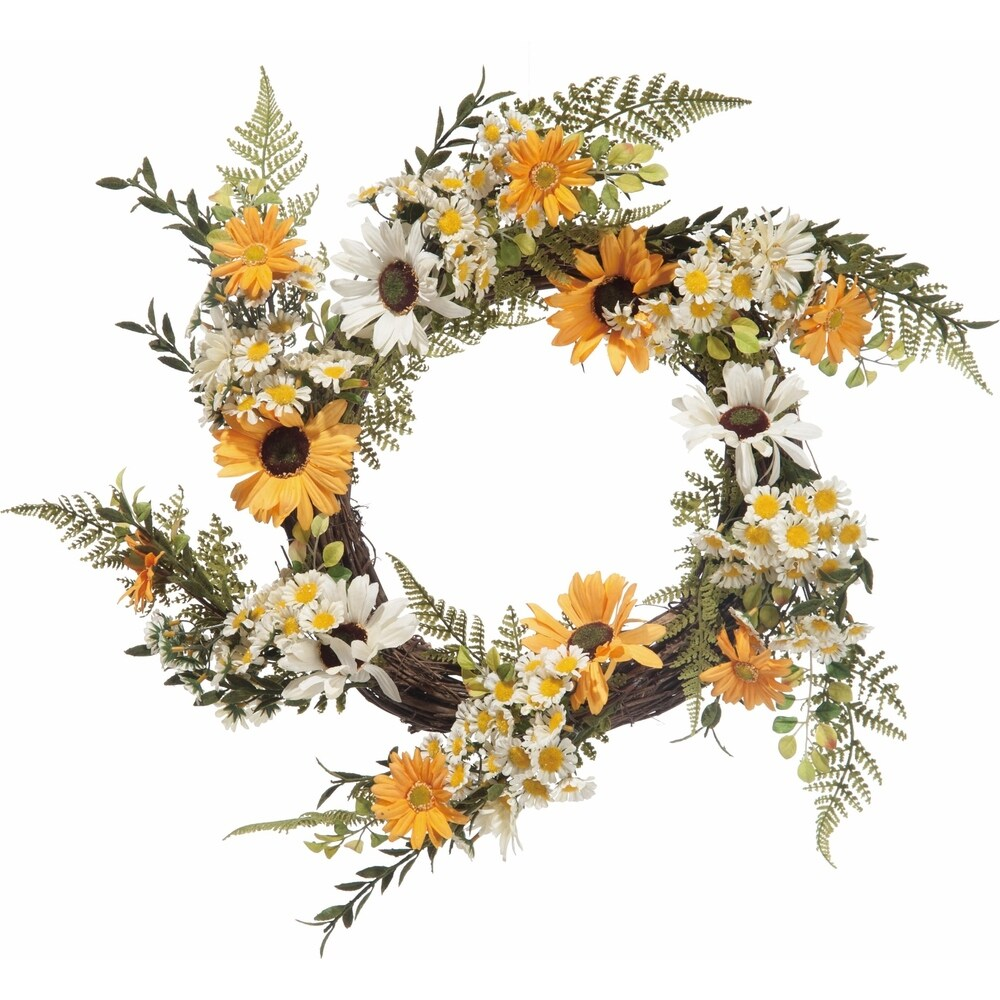 Faux Mixed Yellow and White Daisy Wreath