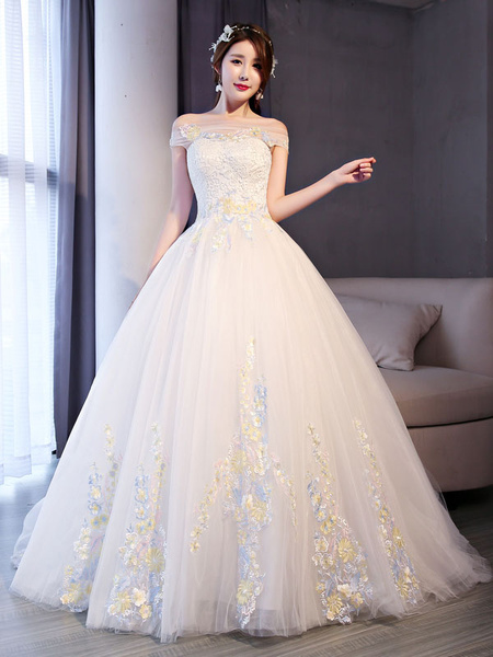 Milanoo Princess Ball Gown Wedding Dresses Lace Off The Shoulder Flowers Applique Ivory Bridal Dress