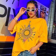 Camisetas Animal Amarillo Casual