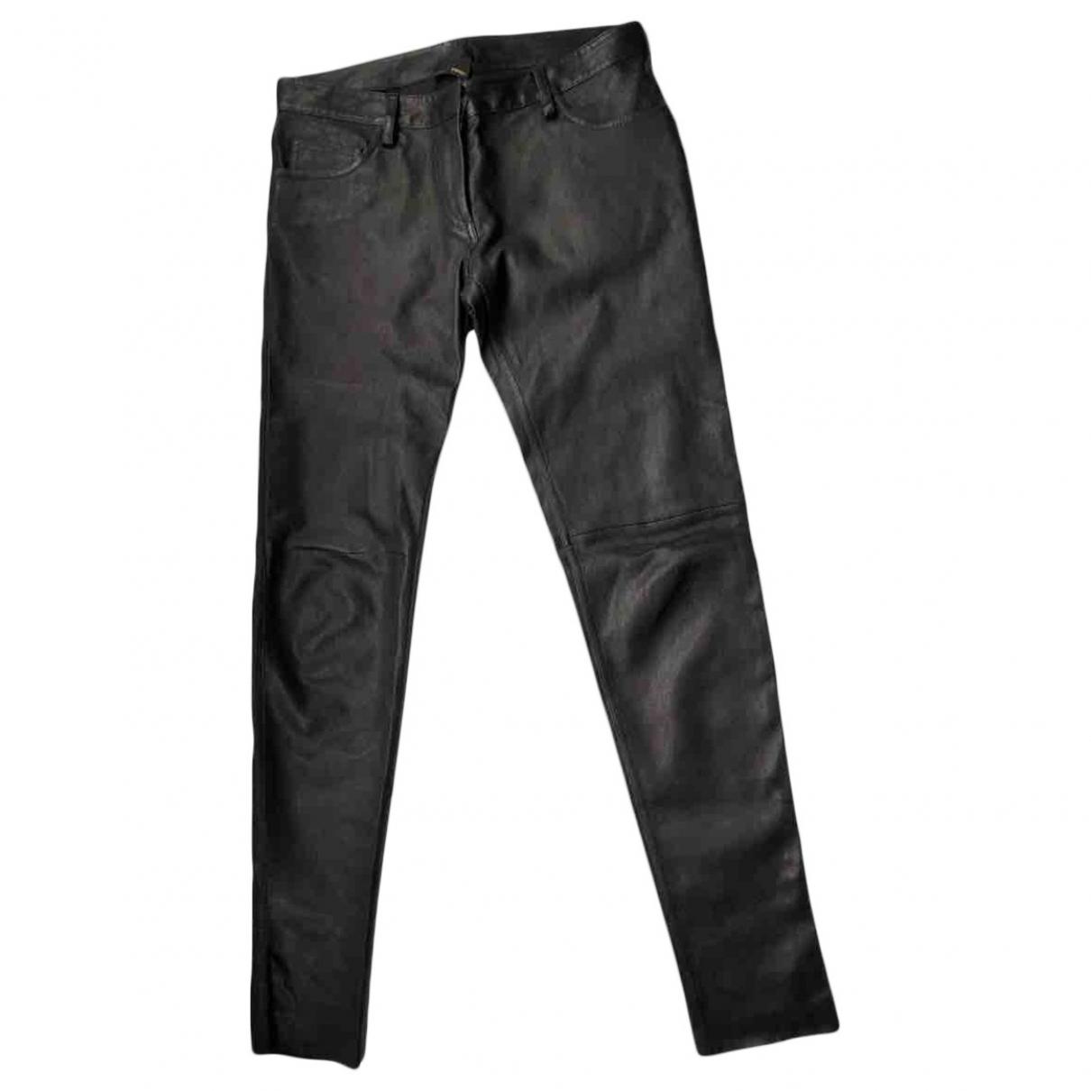 Fendi \N Black Leather Trousers for Women 38 IT