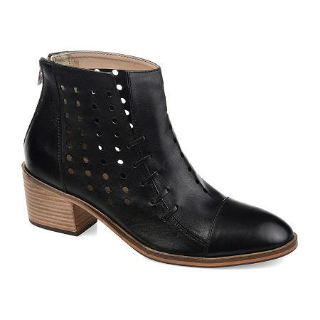 Journee Signature Womens Ulima Booties Stacked Heel, 9 Medium, Black